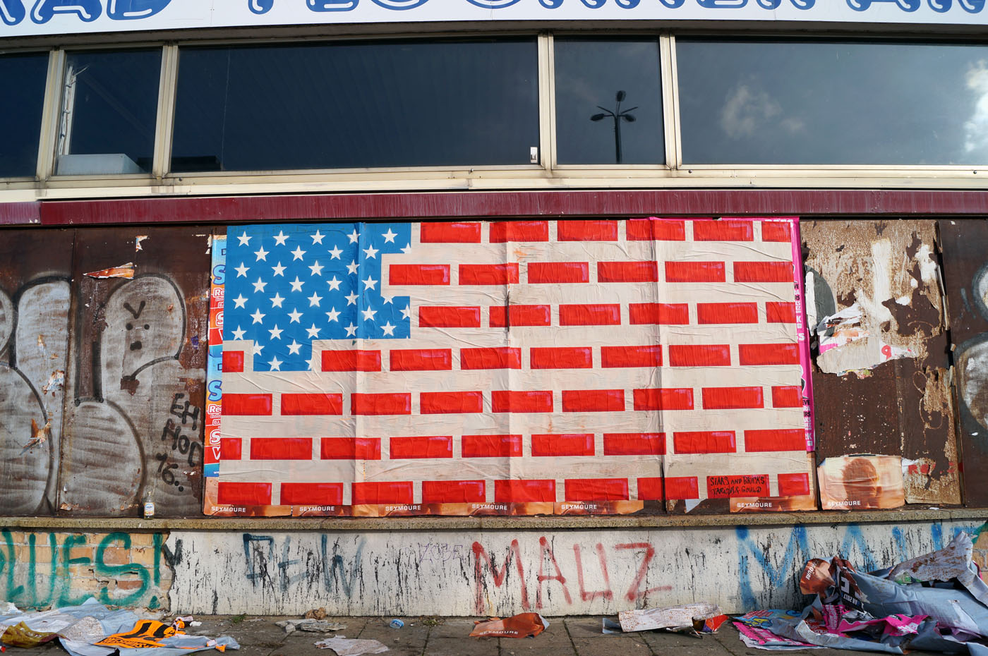 An Urban Art reinterpretation of the American Flag in Berlin