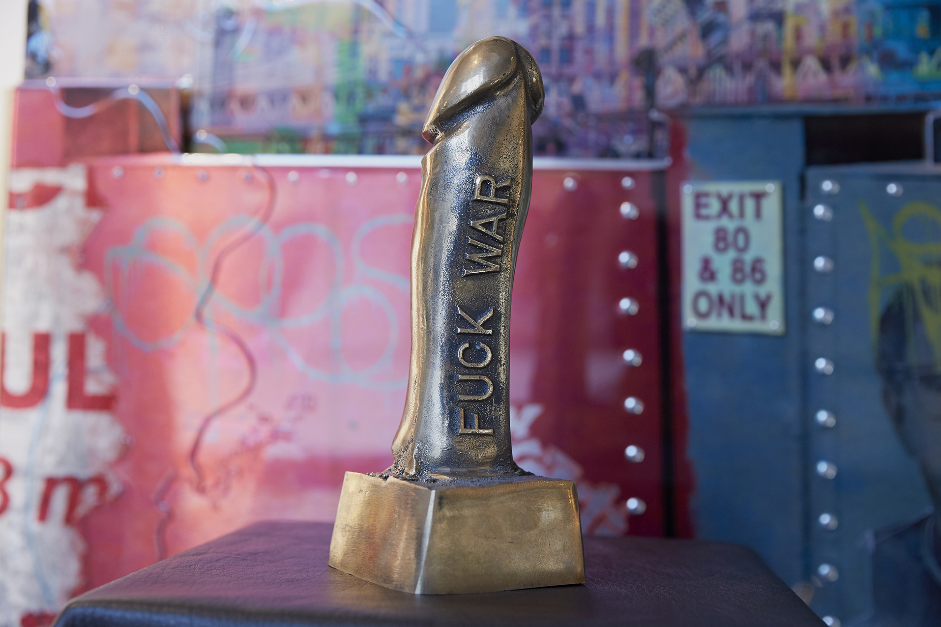 Fvck War! A 10 Inch Penis Statue Made of Molten Weapons